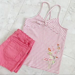 LIKE FOR DISCOUNT! Red+White Striped Floral Tank